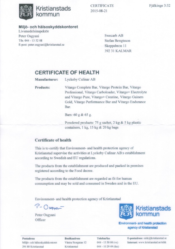 Certificate of Health